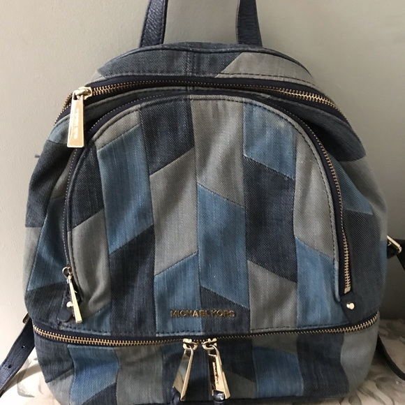 Michael Kors Handbags - Michael Kors Denim MK Leather Medium Backpack